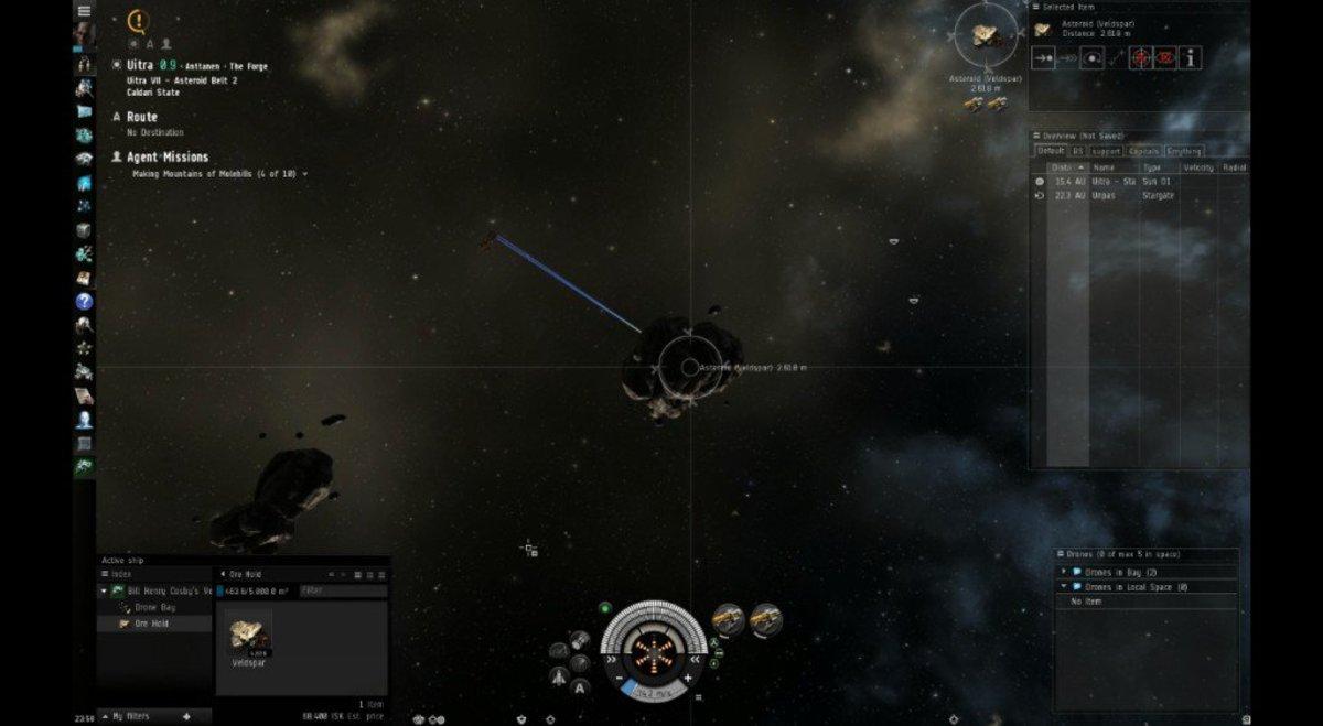 Mining from the veldspar asteroids.