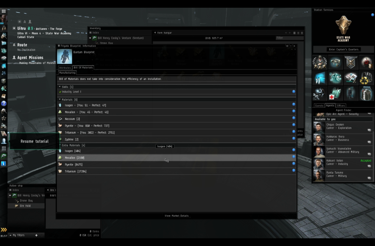 Showing the extra minerals cost listed in the bantam blueprint.