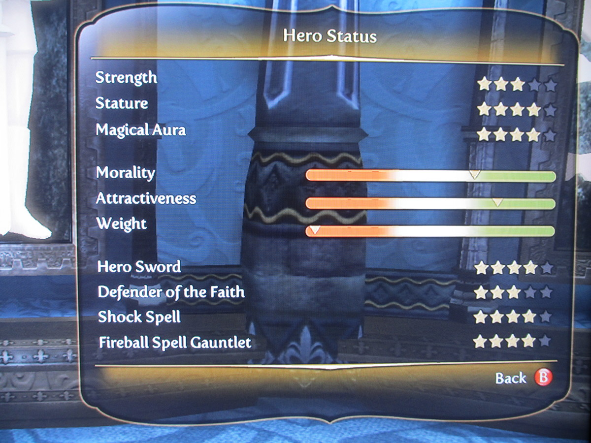The hero's stats, including the morality bar.
