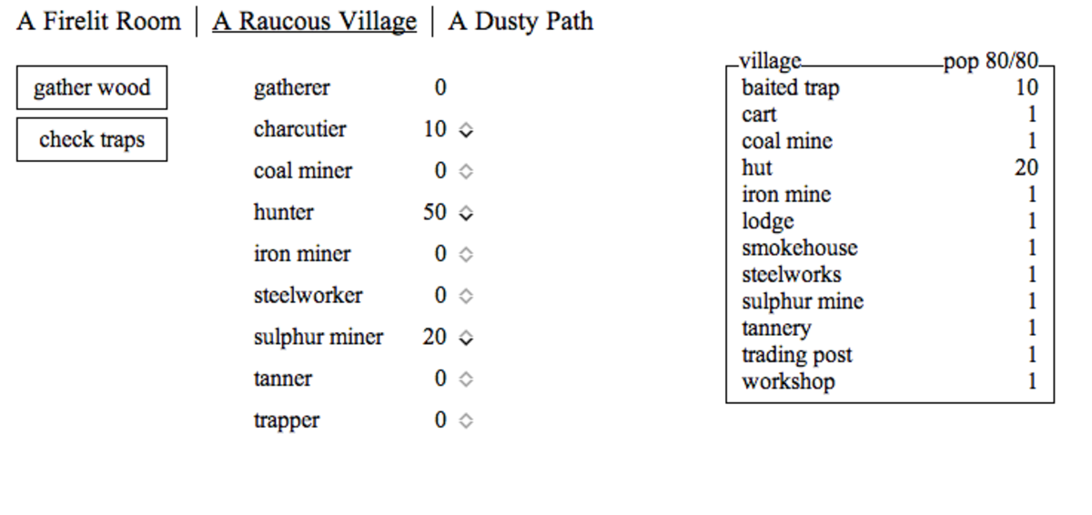 """Your village in """"A Dark Room."""" Your options expand as you gather more villagers and craft more items."""