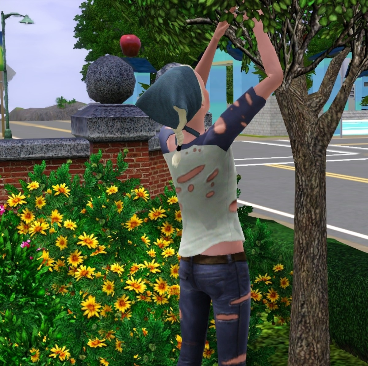 Gathering fruit from trees is a great source of income or food in The Sims 3.