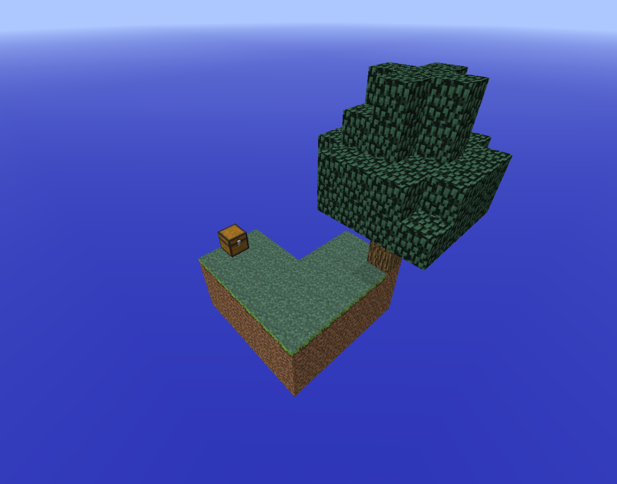 Skyblock forces the player to start with only a tree, bucket of lava and block of ice.