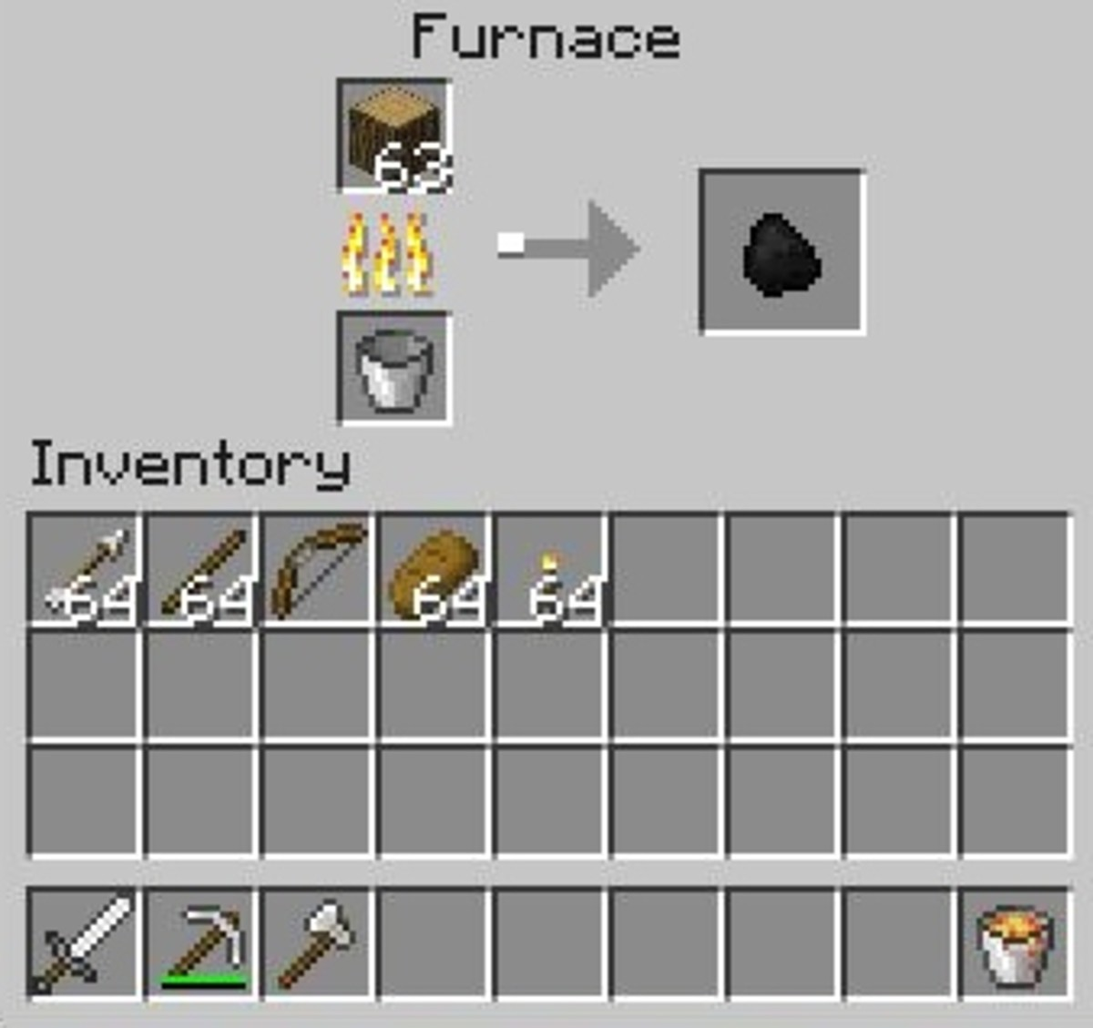 Crafting charcoal requires a furnace, a fuel source and blocks of wood.