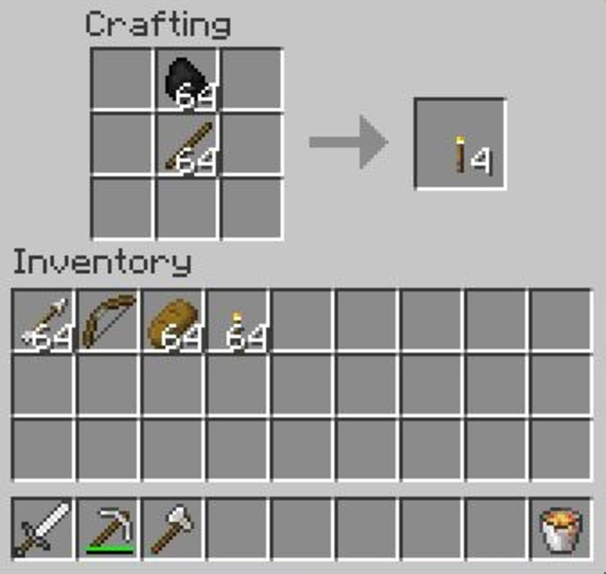 Coal and charcoal will craft torches.