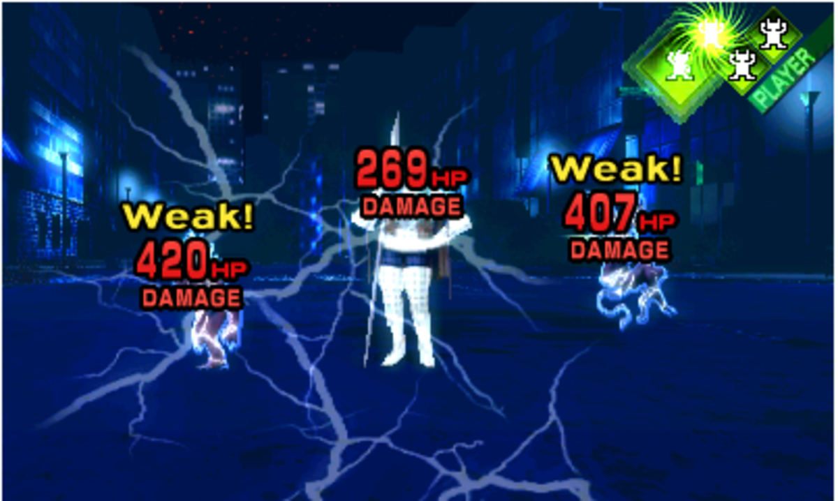 Note the glowing half-turn gained for exploiting an enemy's weakness. The full turns, on the other hand, do not glow.
