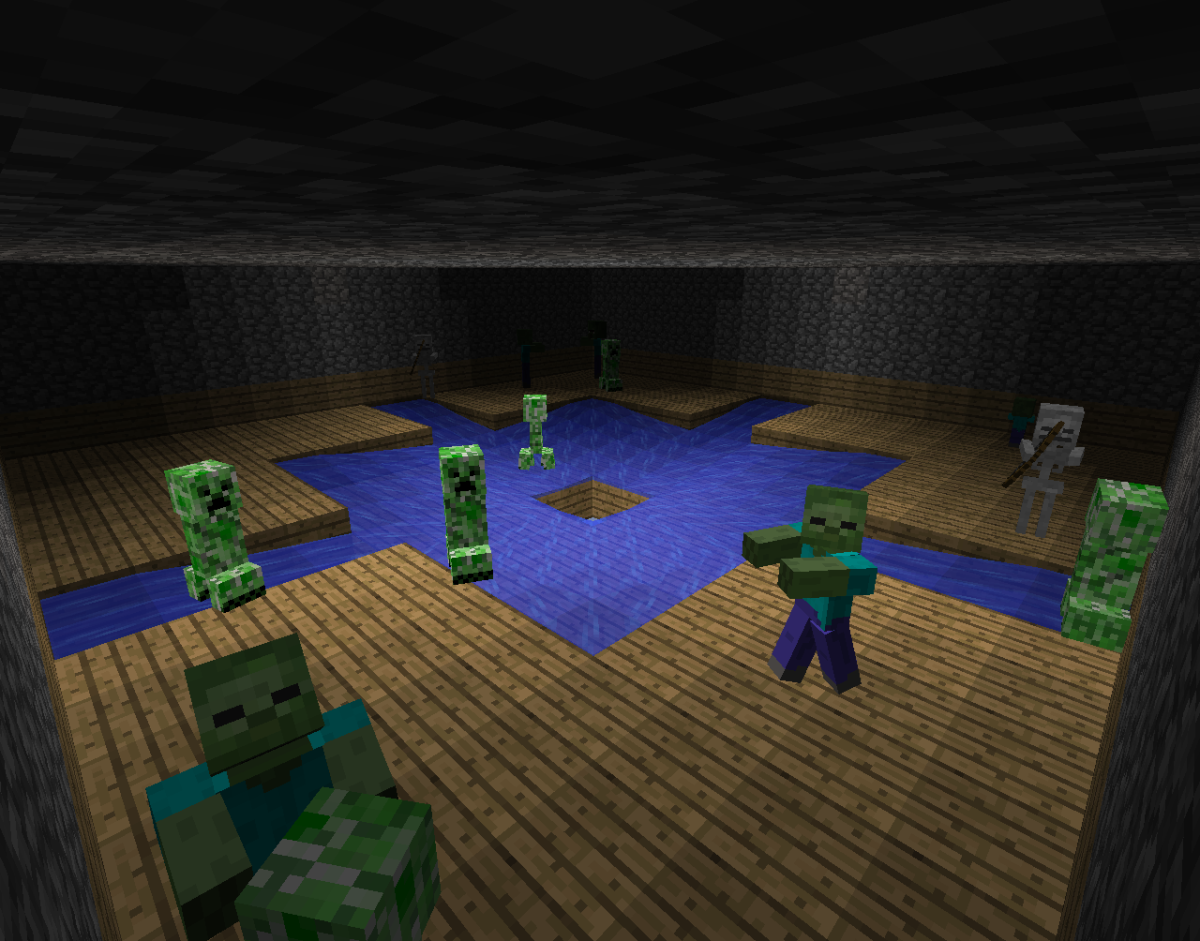 The inside of this spawner has water that forces the mobs down a hole.