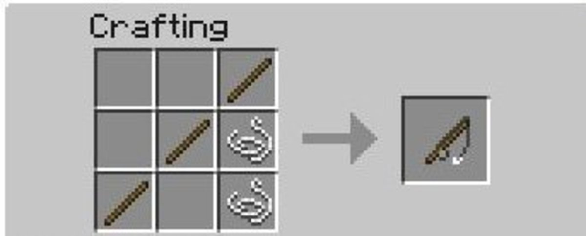 Making a fishing rod in the crafting table is simple - it looks just like a fishing pole!
