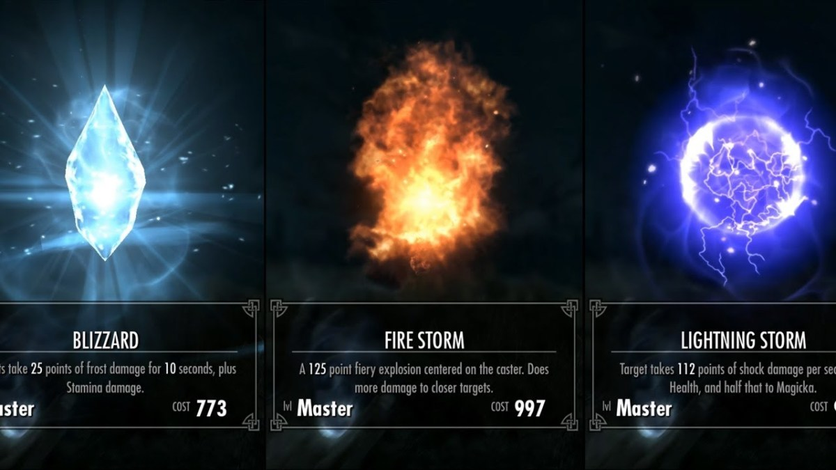 The three types of destructive magic are frost, fire, and shock.