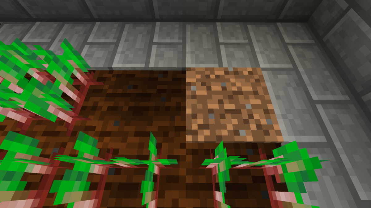 Farmland blocks are darker and appear shorter than than dirt blocks.