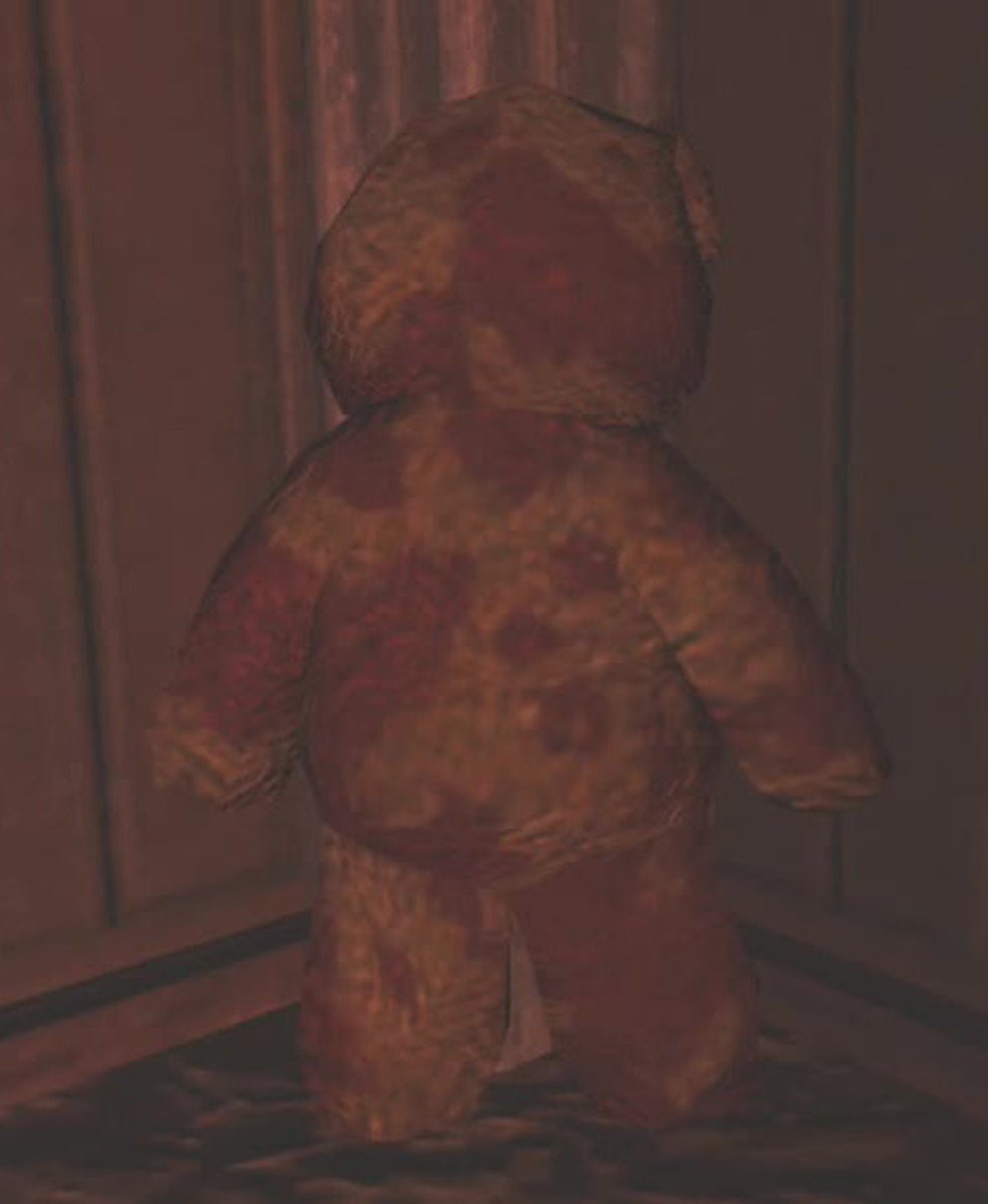 The Teddy Bear in the Haunted Mansion is the only Teddy Bear that is standing in and facing a corner.