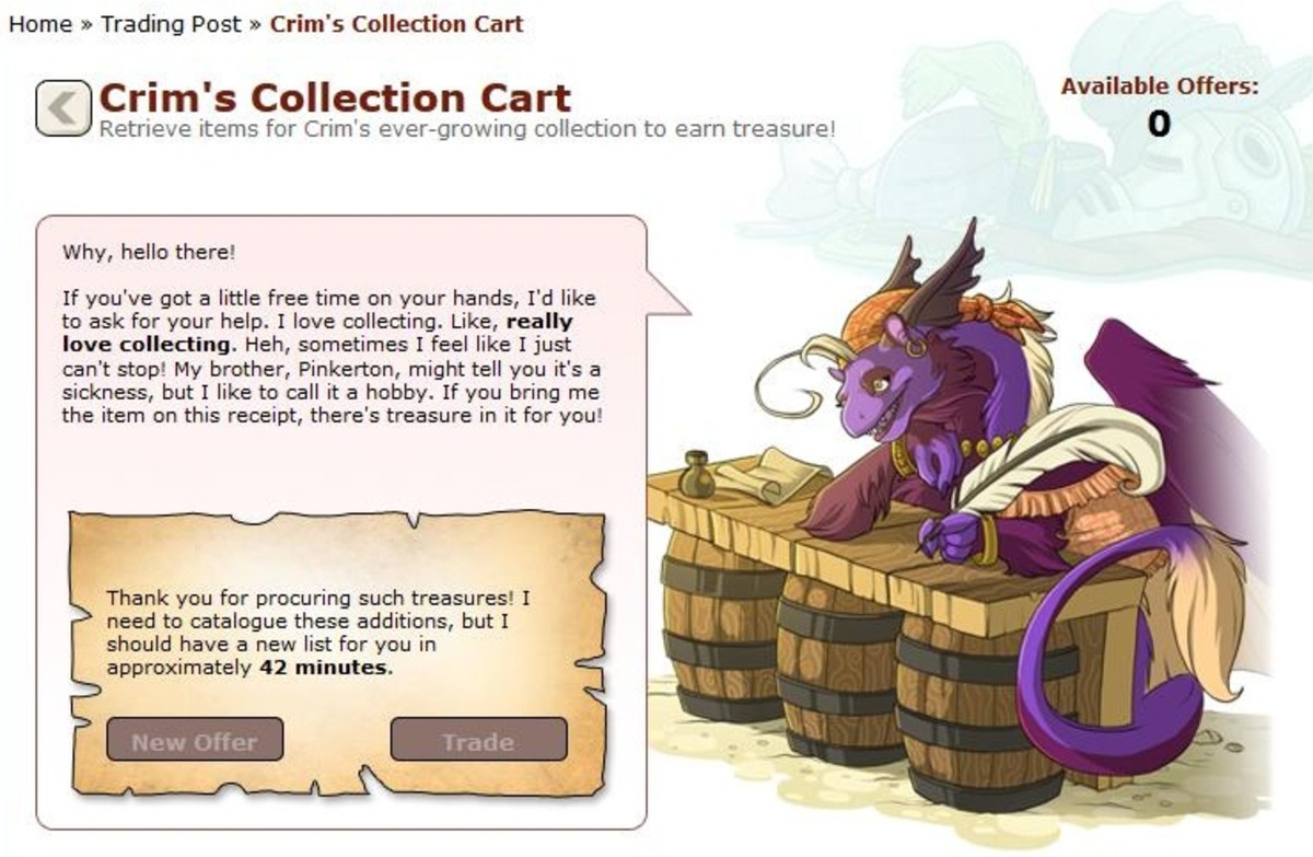Crim loves to collect, so build up your own collection of items to sell her!