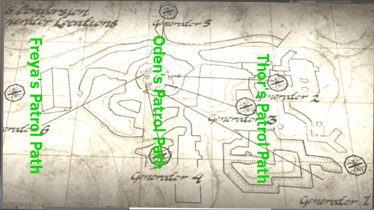 This map shows the patrol of each Giant Robot.
