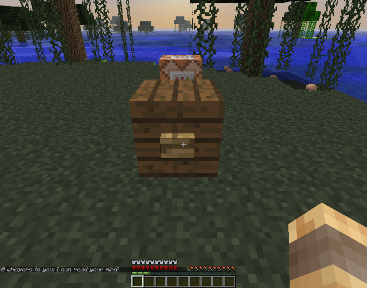 Adventure maps use command blocks to express dialogue between characters.