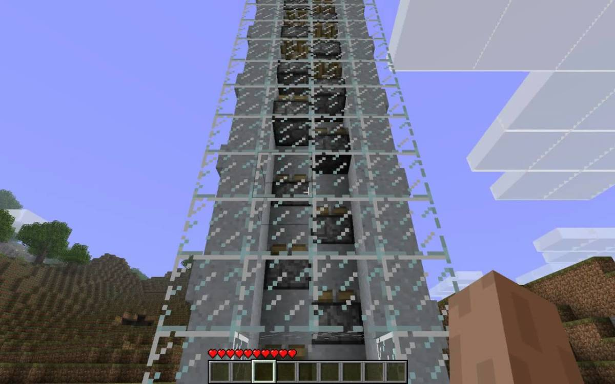 A piston elevator, powered by redstone.