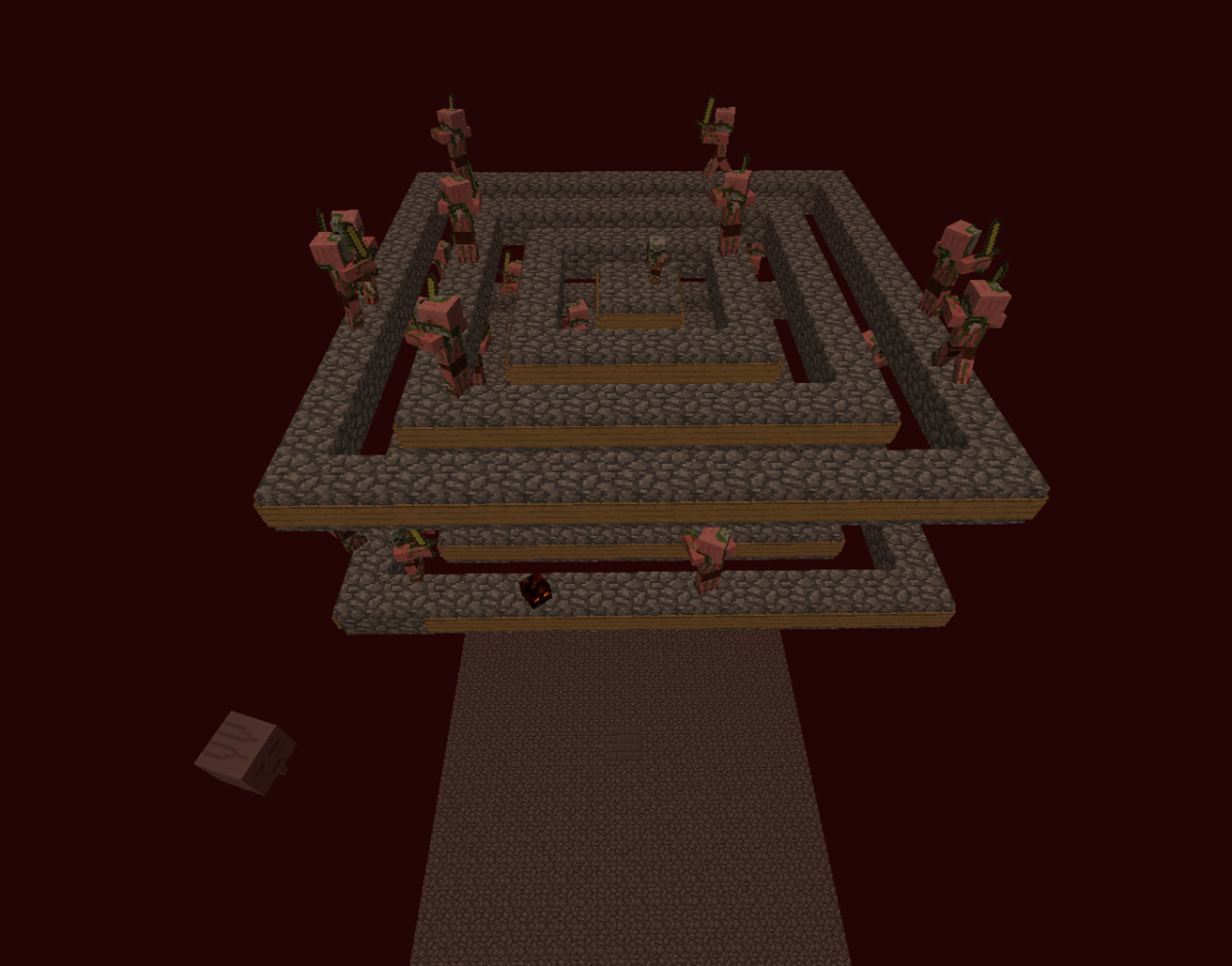 This pigman spawner has them walk off of their platforms and fall to their death.