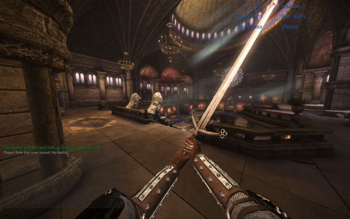 A free-for-all game is a great way to practice your swordfighting skills.