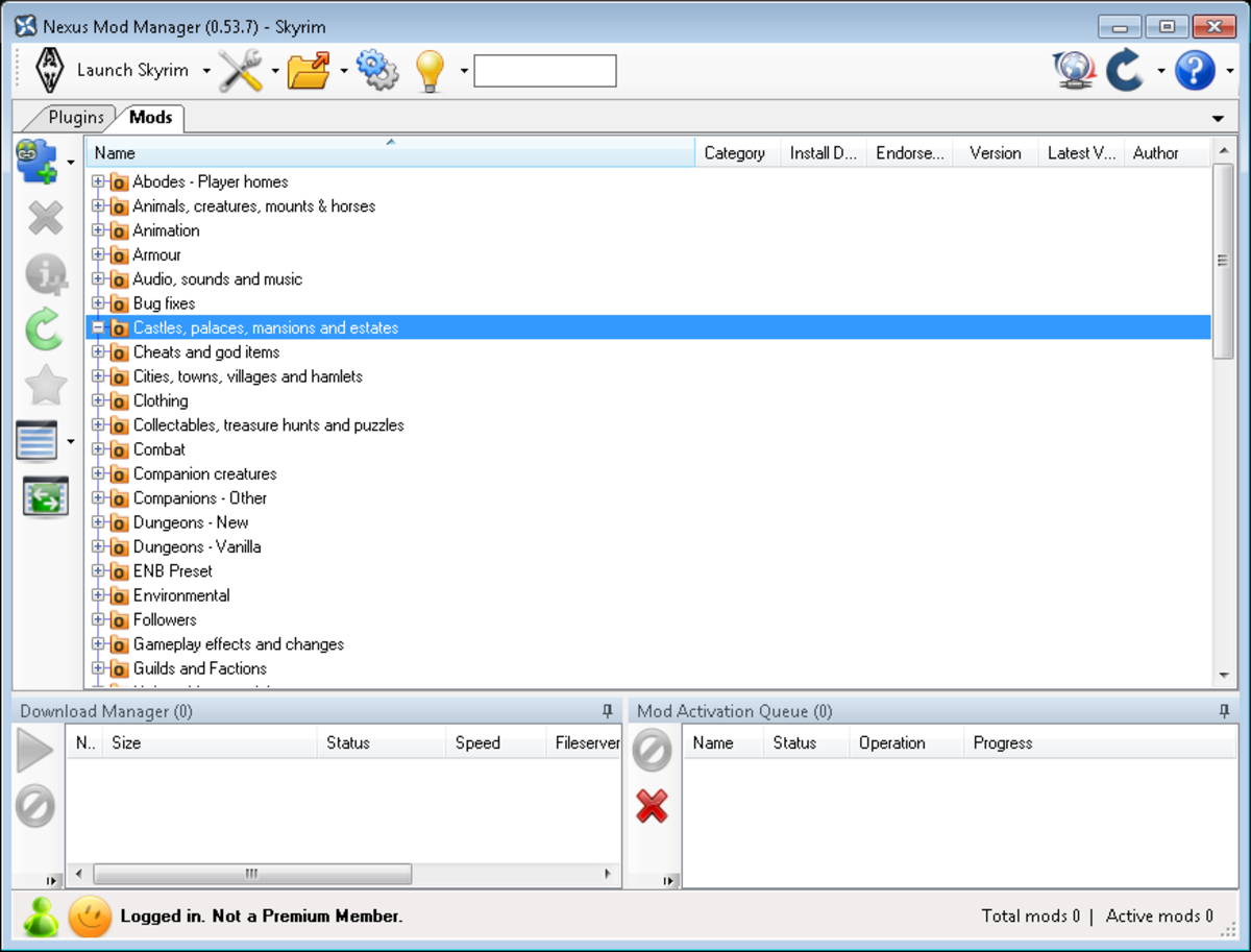 Nexus Mod Manager showing the predefined mod categories.