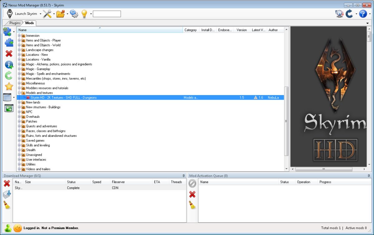 Our newly downloaded Skyrim mod is ready to install in Nexus Mod Manager.