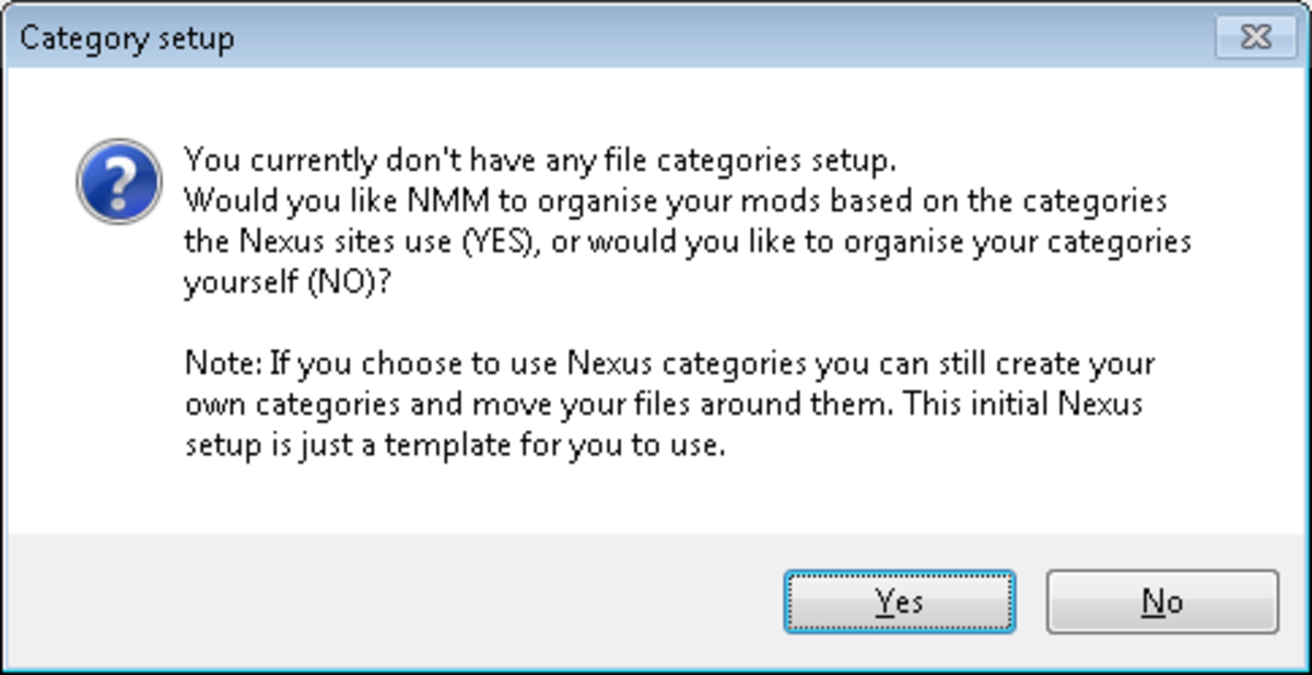 Click Yes, to allow Nexus Mod Manager to sort your mods using predefined categories.