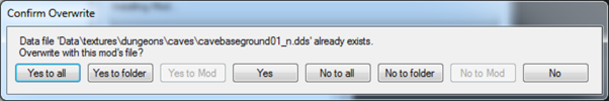 Choose whether your newly installed mod will overwrite existing files or not.