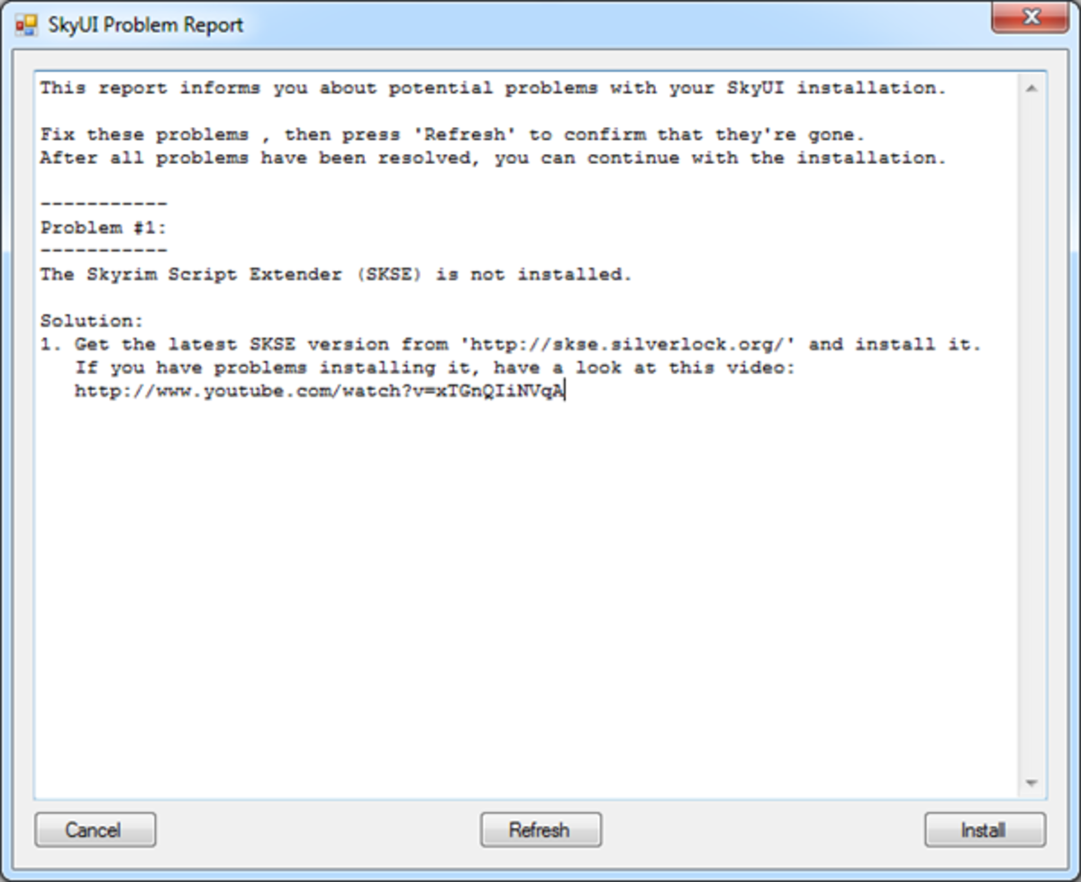 Example of an error received when installing a mod that is missing a prerequisite mod.