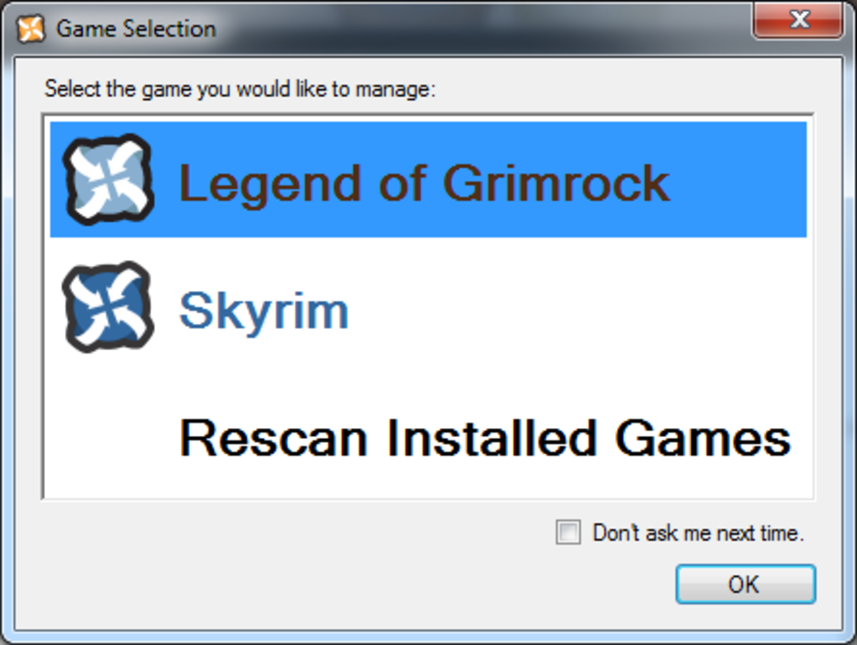 Screen showing the games available and allowing you to select which game you would like to manage using Nexus Mod Manager.