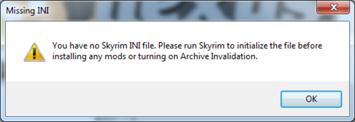 You may receive the above warning from Nexus Mod Manager if you have not yet run Skyrim