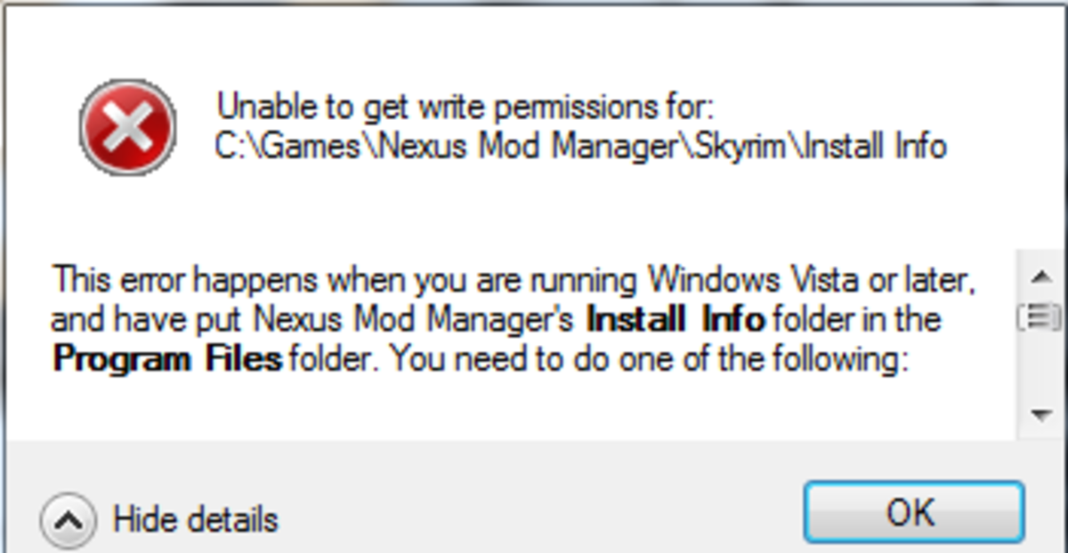 Permissions error often seen for Windows Vista and Windows 7 users installing Nexus Mod Manager.