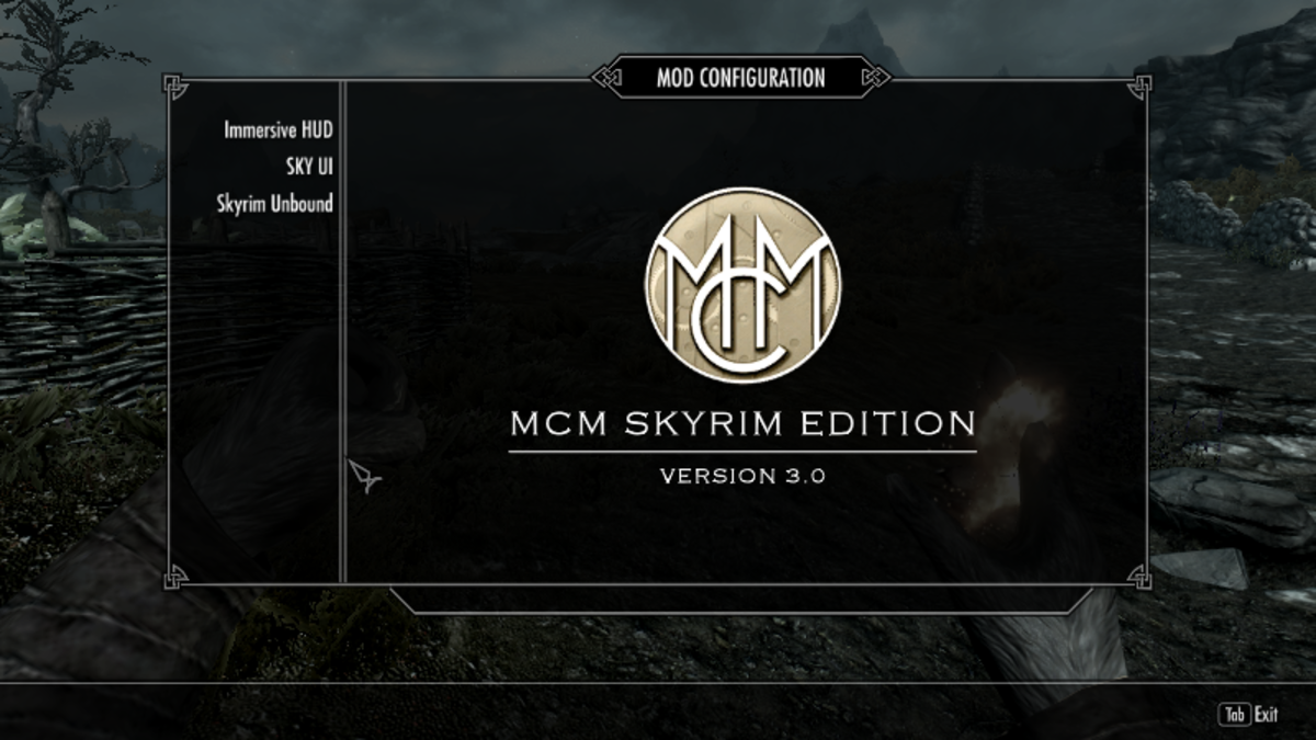 The Mod Configuration menu created by Sky UI in Skyrim.