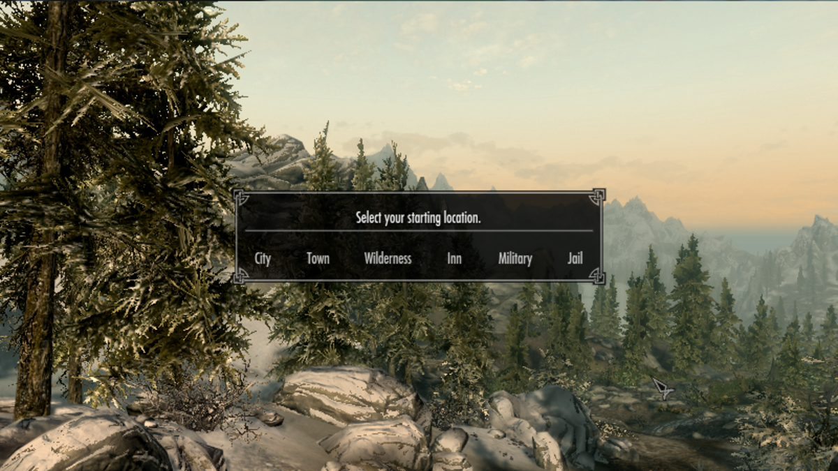 Skyrim Unbound in game screenshot showing the starting location choices available.