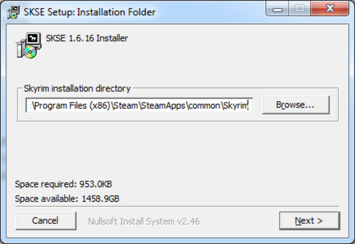 Select your Skyrim Installation folder when installing Skyrim Script Extender (SKSE).