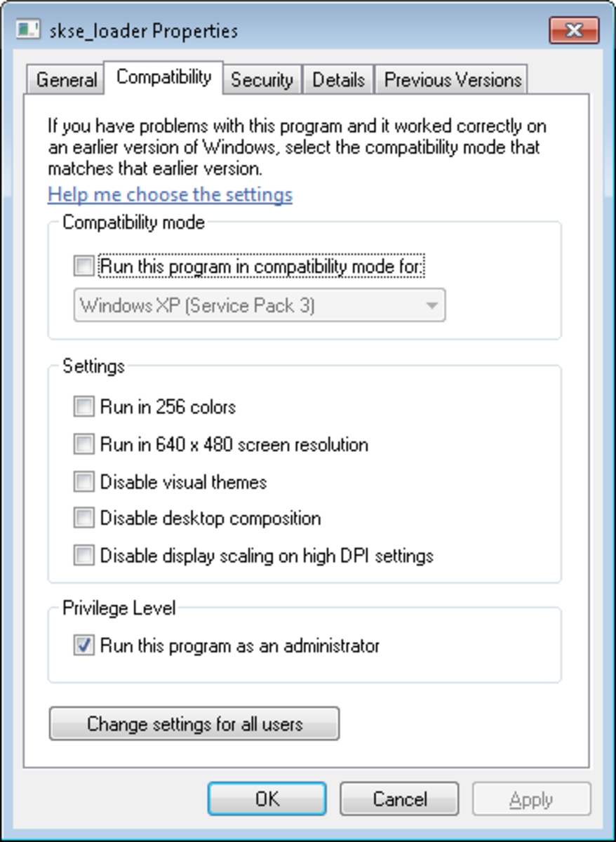 How to correctly configure SKSE for Skyrim to run on a Windows Vista, 7 or 8 PC.