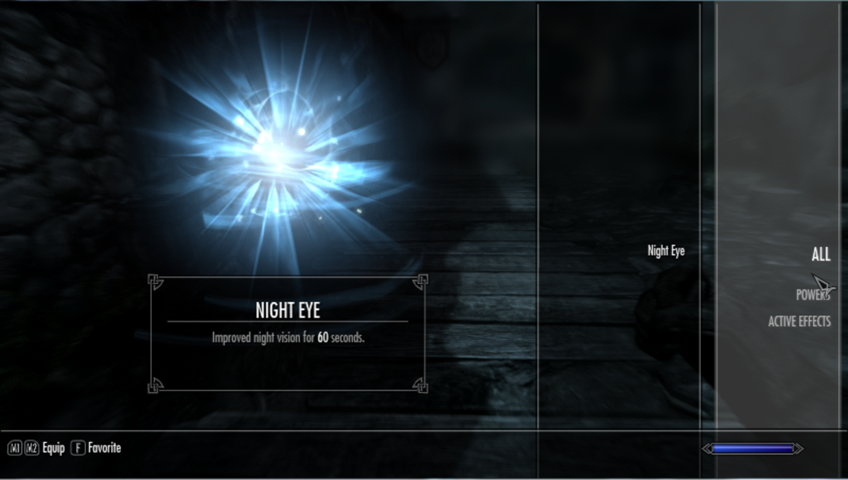 The original Skyrim User Interface showing your characters available magic spells.