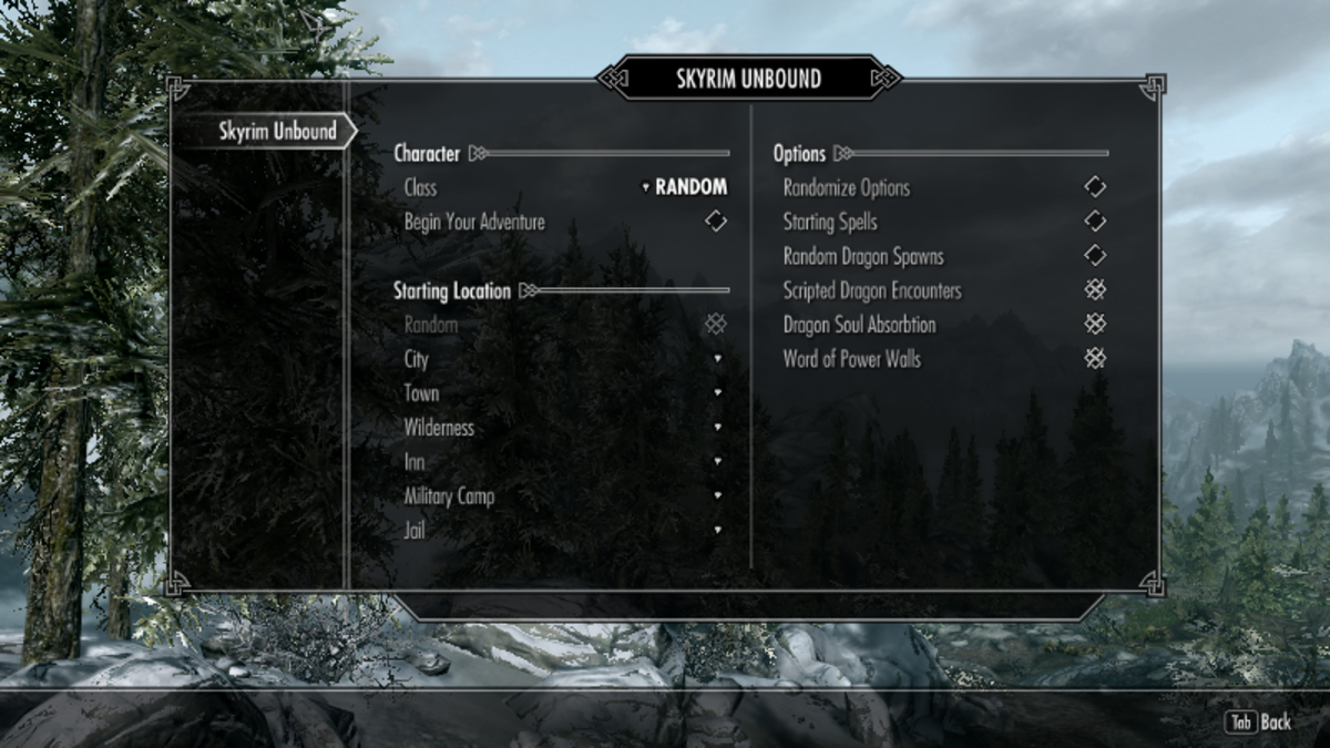 Configurable options for the Skyrim Unbound mod when using Sky UI in Skyrim.