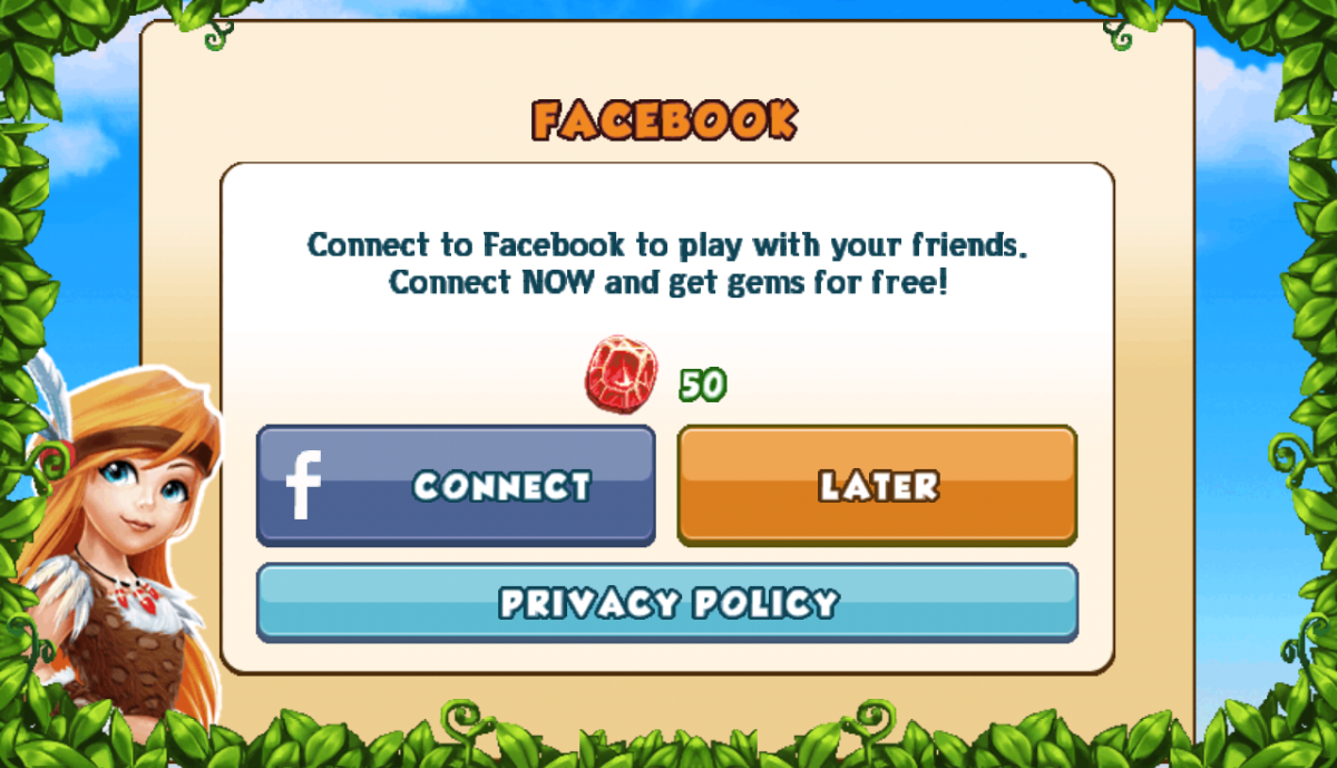 Get 50 Gems By Signing in With Facebook