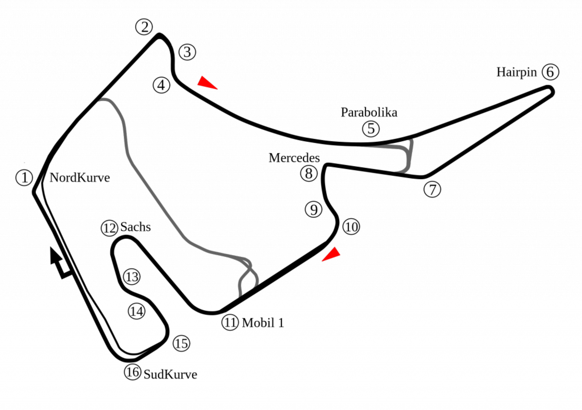 Hokenheimring Track Map, all 3 configurations