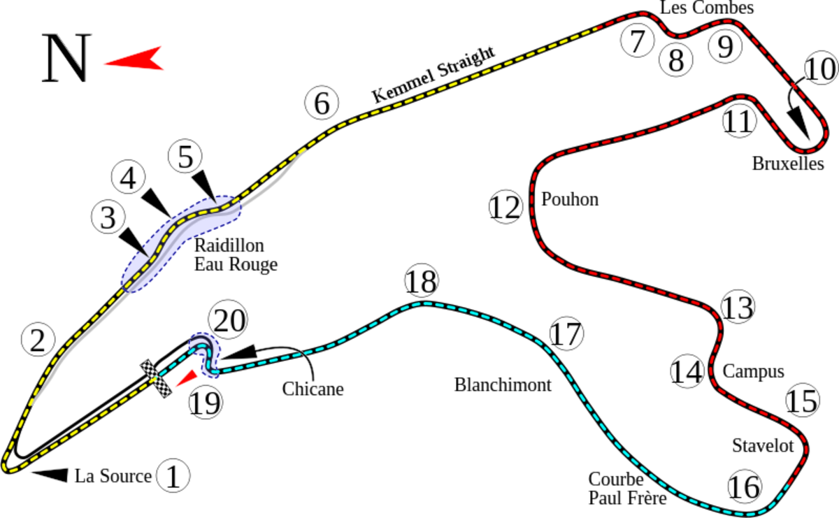 Circuit de Spa-Francorchamps, F1 Grand Prix layout, current