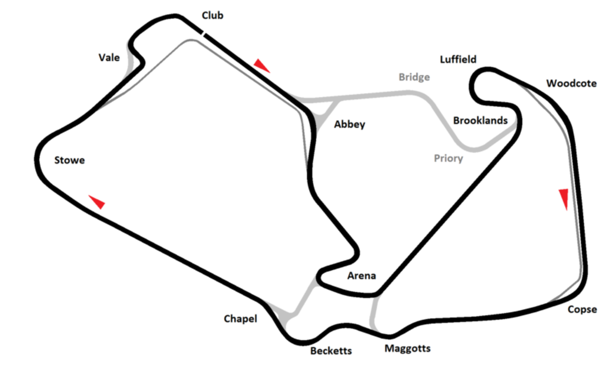 Silverstone circuit track map, current grand prix config