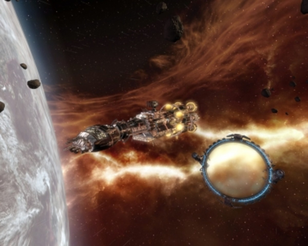 """X3: Reunion"": a capital ship with a jump gate in the background."