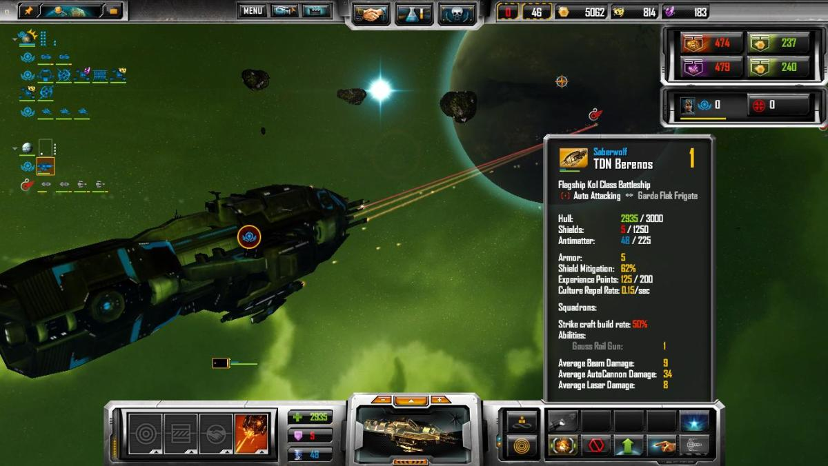 Another capital ship, interface, and stats