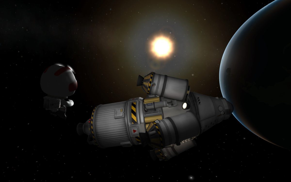 Orbiting Kerbin with a Kerbal on EVA