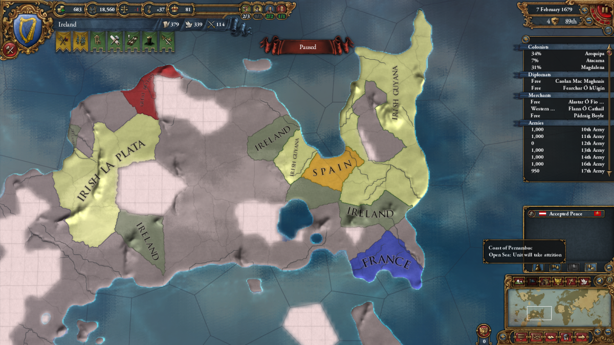 (In case you were wondering, no, this is not a real land formation. The New World has been randomized. Man, I love this game.)