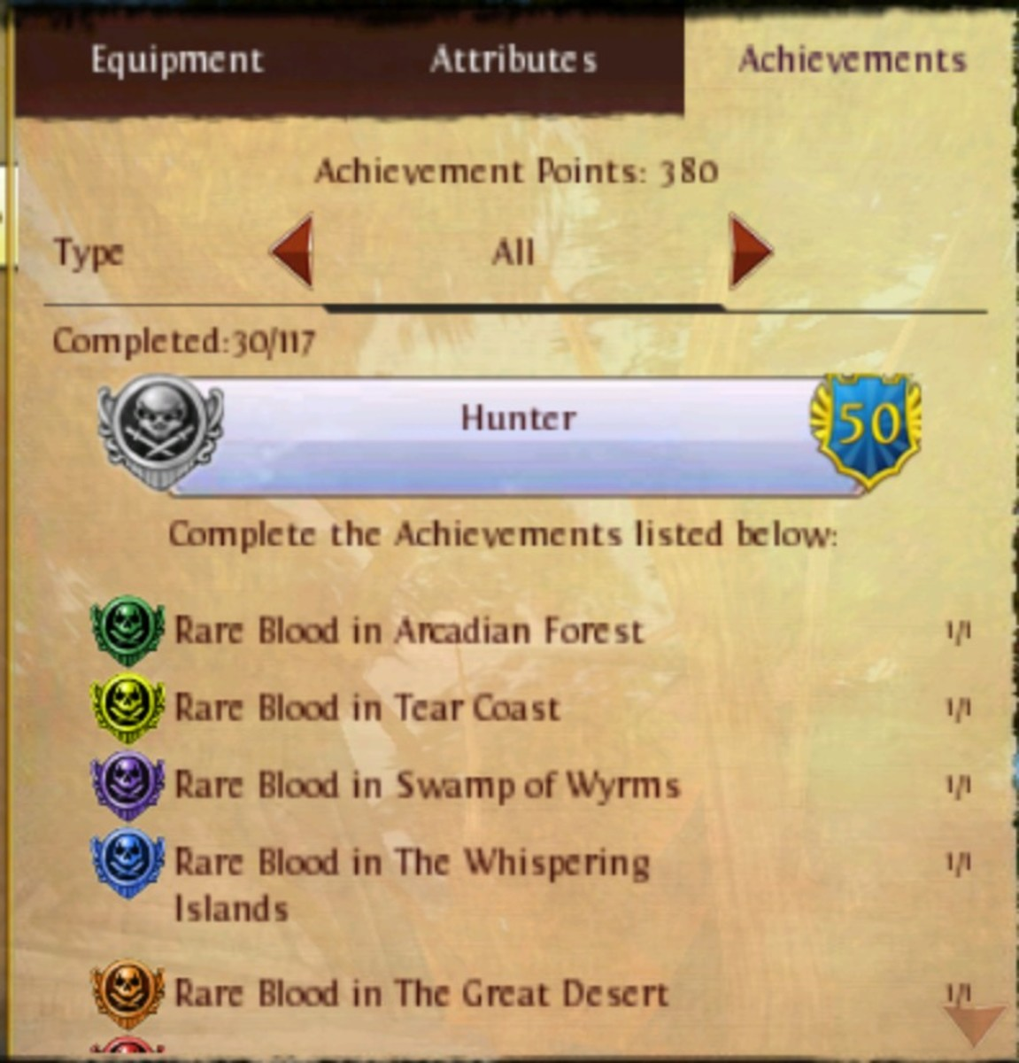 This is a part of the Hunter achievement list. There is more, this is just an example for Rare Blood.