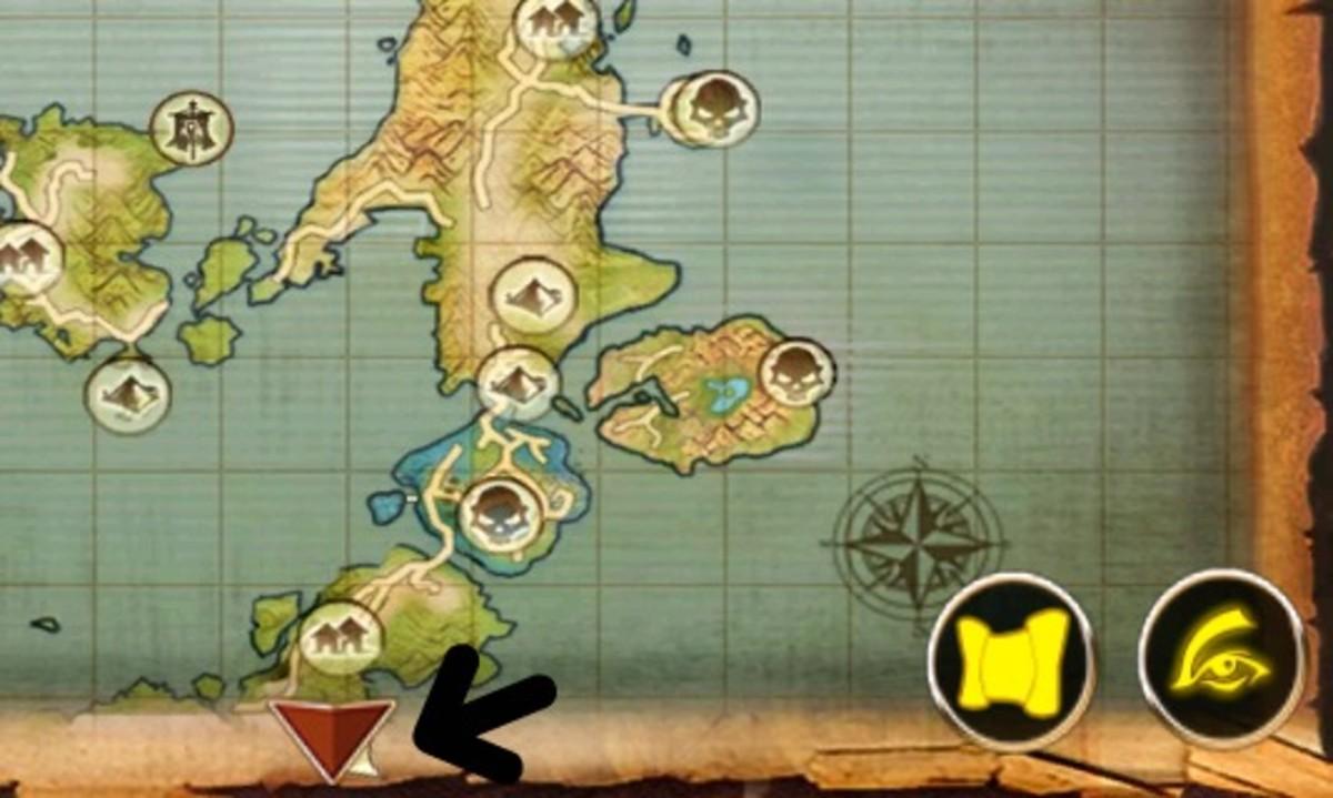 Ocean Fury Summoner Whispering Island Location map.
