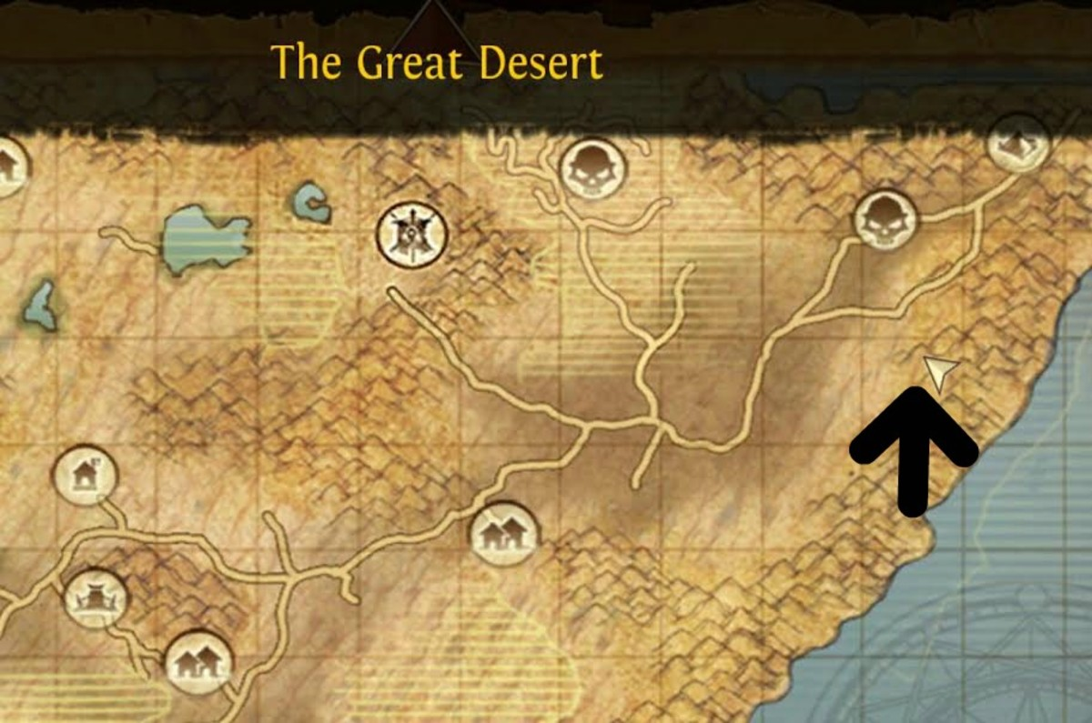 This is where the Desert Water Lord is located on the world map.