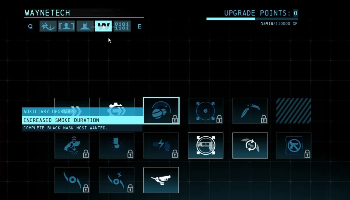 These upgrades can only be leveled up by completing a series of missions or by completing the dark knight system.