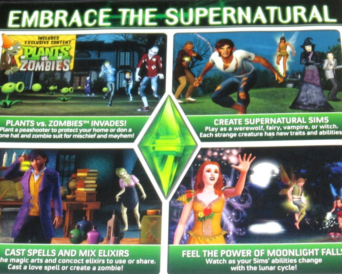A look at the back of the box for The Sims 3 Supernatural expansion pack.