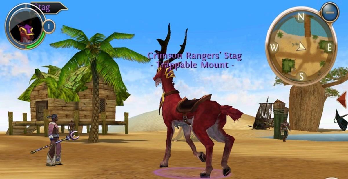 Crimson deer, level 2 mount in the Desert, order and chaos.
