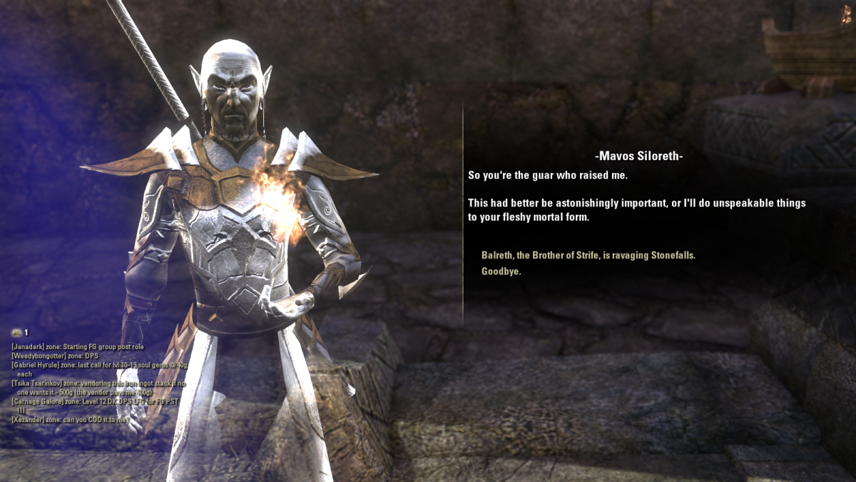 Mavos Siloreth, a short-tempered and caustic spirit met during the Mystery of Othrenis quest in The Elder Scrolls Online.