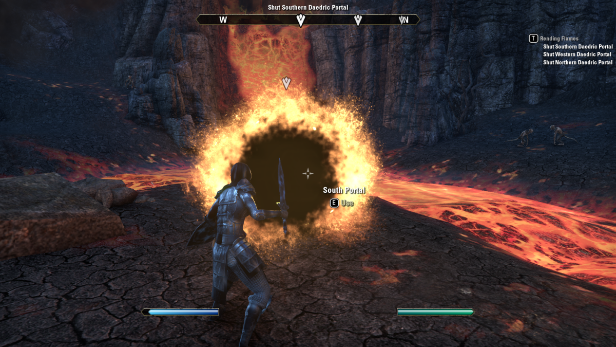 A flaming, demonic portal that needs closing during the Rending Flames quest in The Elder Scrolls Online.